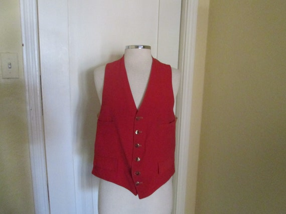Vintage 40s Waistcoat Red Velvet Button Vest 38 39