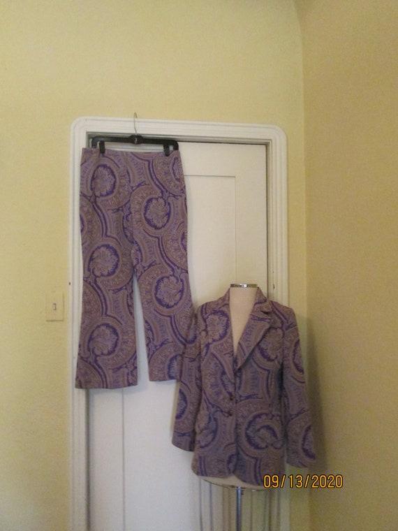 1970 Mod Purple Abstract Pantsuit Bell Bottoms L