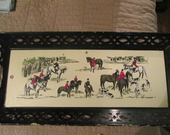 Mid Century Horses Dogs Hunting Scene Tray Hand Painted