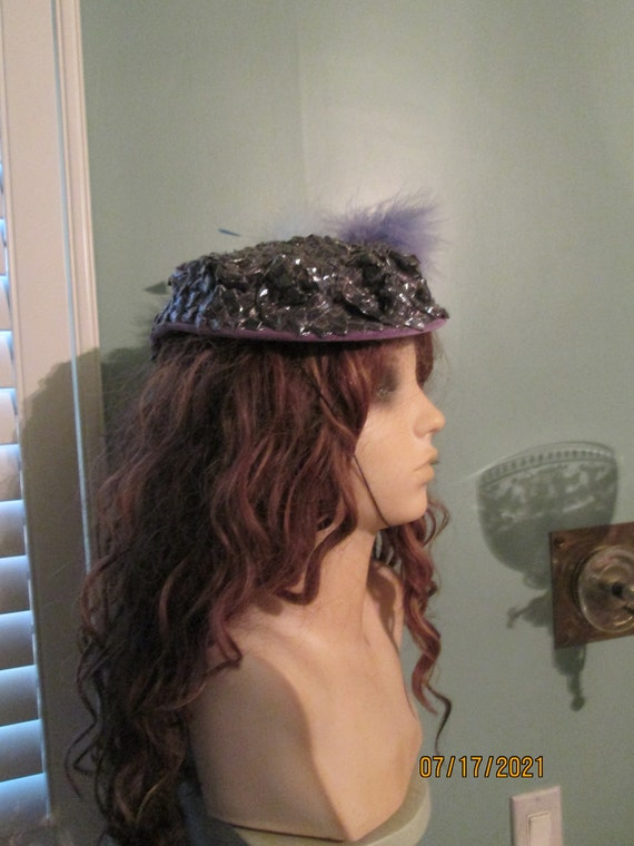 1940s Tilt Hat / Sunnycrest Original  / Silver Pu… - image 5