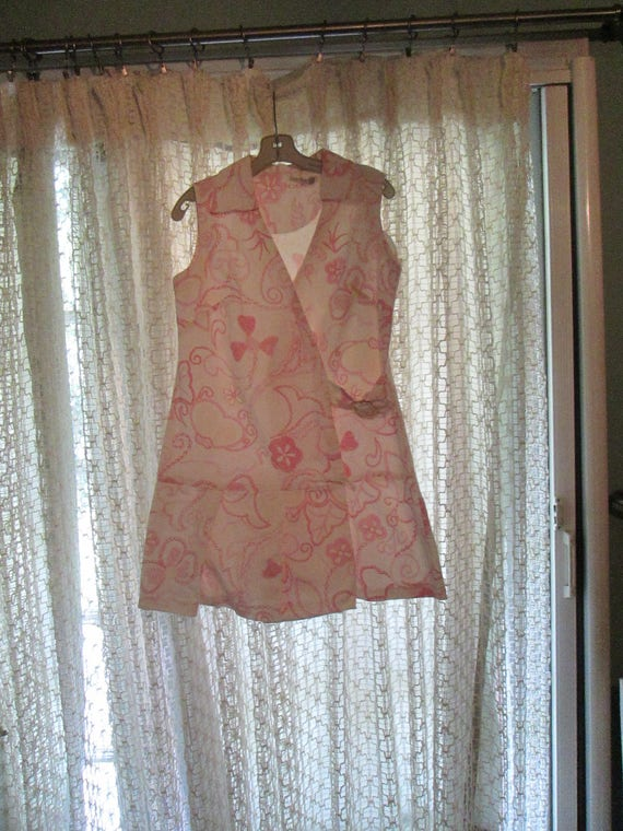 Vintage 1960s Romper Culotte Dress Pink White Yell