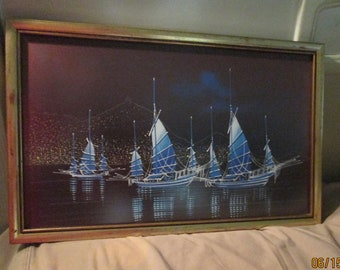 Mid Century Sailboat Paintings Framed
