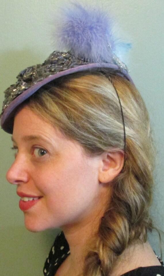 1940s Tilt Hat / Sunnycrest Original  / Silver Pu… - image 2