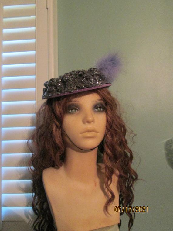 1940s Tilt Hat / Sunnycrest Original  / Silver Pur