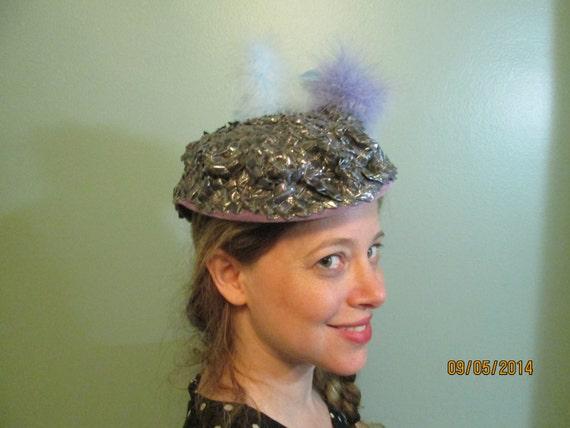 1940s Tilt Hat / Sunnycrest Original  / Silver Pu… - image 6
