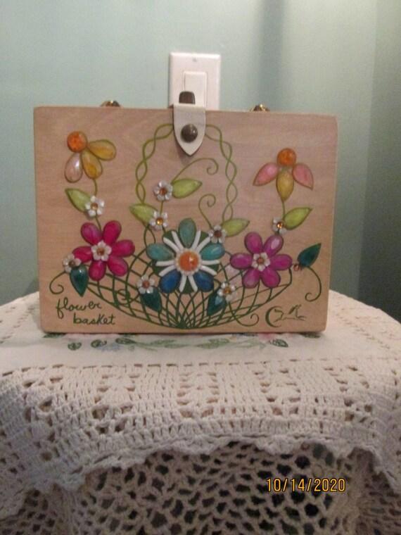 Vintage Enid Collins Wood Floral Box Bag