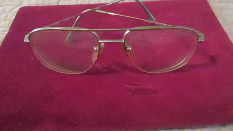 Vintage Men Aviator Eyewear Nouveau Mod Marco Brown Gold Half Glass Italy