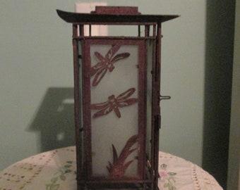 Vintage Cast Iron Lantern Candle Butterflies Etched Panels