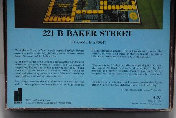 GGM0059 Vintage 221b BakersStreet Sherlock Holmes The Master Detective  Board Game