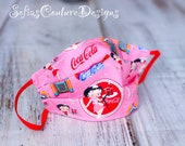 Ready to-ship Adult size Pink Betty Boop cotton double layer face mask with elastic