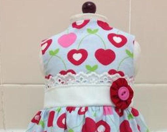 Cherry and Heart Dress 18 Inch Doll American Handmade
