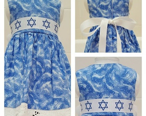 Happy Hanukkah Dress American Made 18 or 14 Inch Doll Clothes