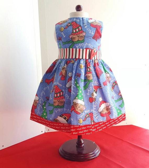 Kitty Santa Hats American Handmade 18 and 14 Inch Doll Dress