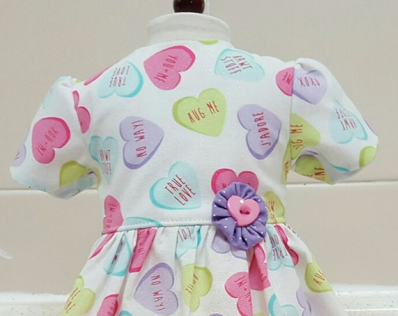 Valentines Day 18 Inch American Handmade Puffed Sleeve Candy Heart Dress American Made 18 Inch Doll Clothes
