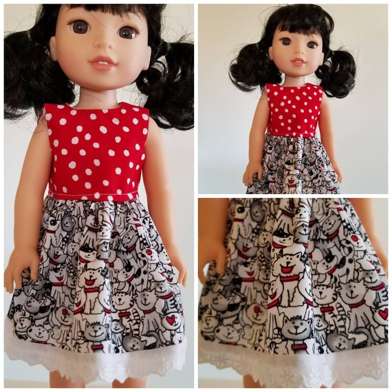 Cats and more Cats With Red and White Polka Dot  Dress. I have  sewn eyelet lace at the hem! for Wellie Wishers Dolls