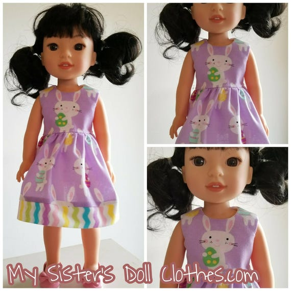12.00 Purple Easter Bunny Dress for the 14.5 Inch Doll Wellie Wisher