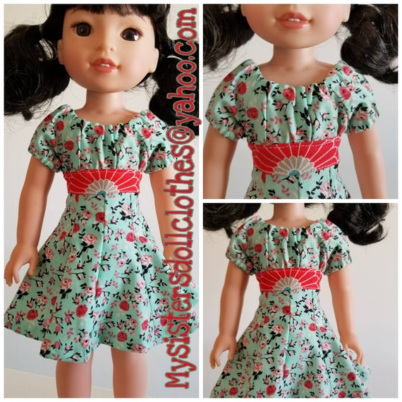 Cute Flower Dress with Puffed Sleeves for 14.5 Inch Doll Wellie Wisher.