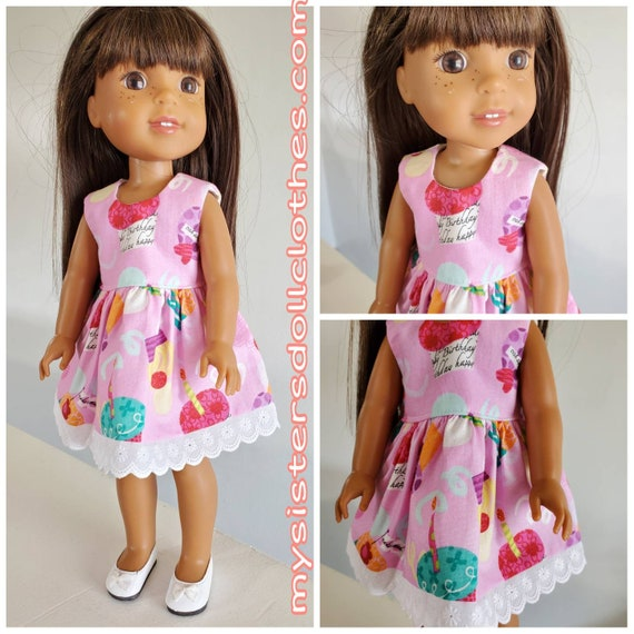 Happy Birthday Dress for Willie Wisher 14.5 Inch Doll and American Girl Doll
