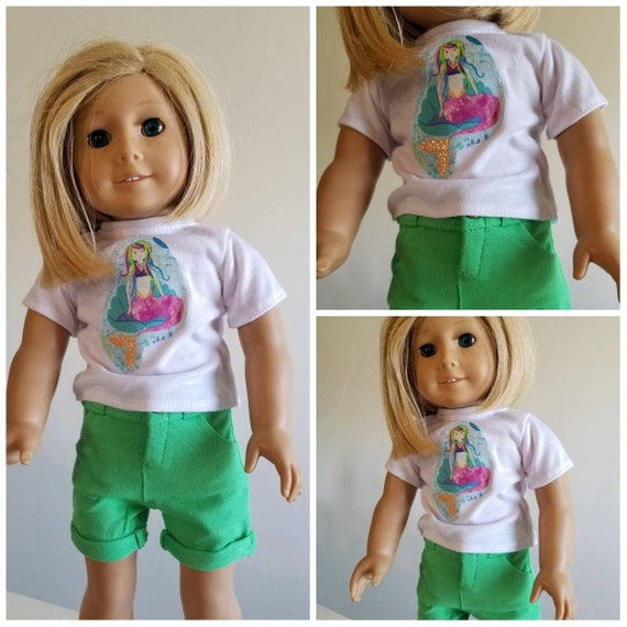 Mermaid Tshirt and Green  Shorts for your American Girl Doll  Handmade