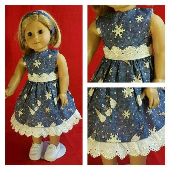 Christmas Dress with Snowmen and Stars American Handmade 18 and 14 Inch Doll