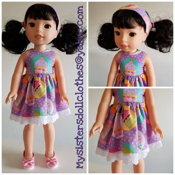 Cupcake Polka Dot Dress, Headband and Shoes for 14.5 Inch Doll Wellie Wisher