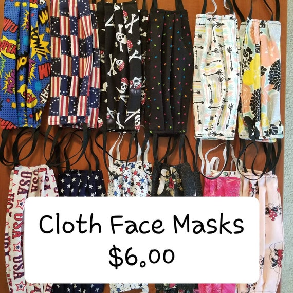 Reversible Face Masks with Elastic that Goes Over your Ears. Washable and Reusable. Choose your Fabric.