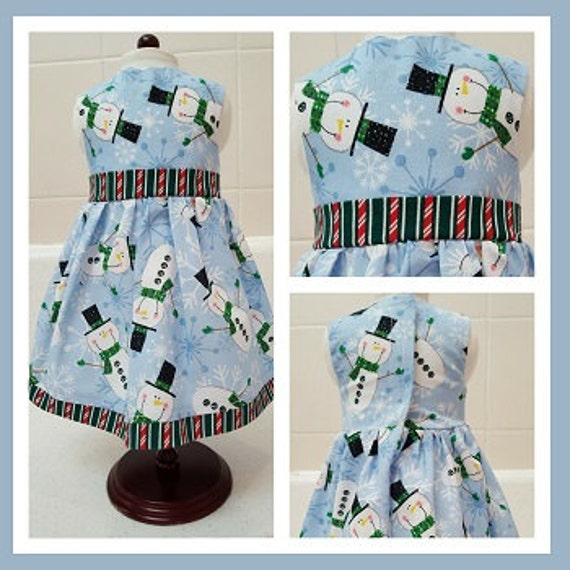 18 Inch American Handmade Snowman Christmas Dress American Made 18 and 14 Inch Doll Clothes