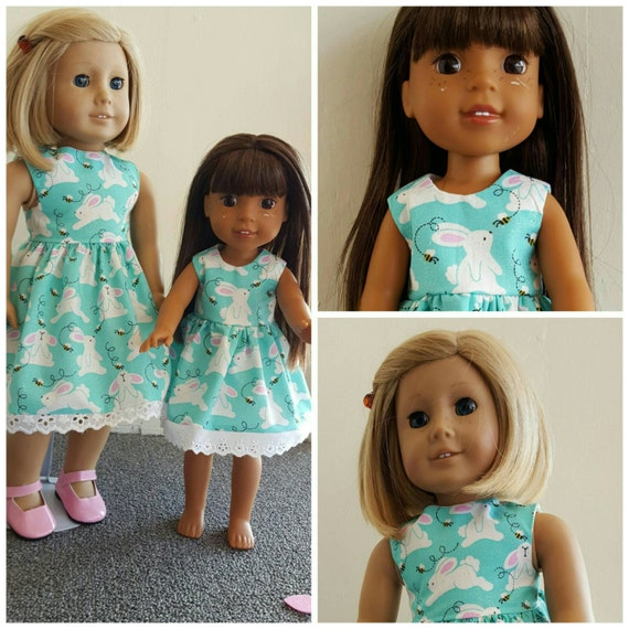 Blue Bunny Dress for Easter for Wellie Wisher Dolls. Sorry 18 inch dress sold out.