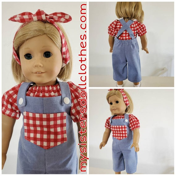 Denim Overalls, Red Check Blouse and Tie Headband. American Made 18 Inch Doll Clothes