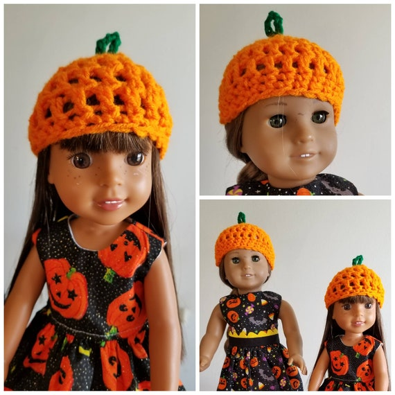 Pumpkin Crochett Hats for Wellie Wisher and American Girl Dolls