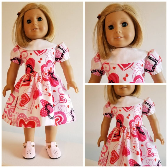 AG and WW White Collar and Hearts Dress for Valentine's Day