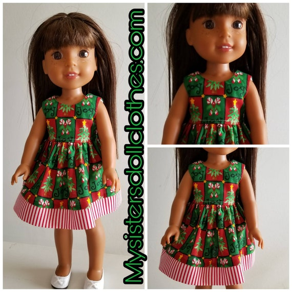 Christmas Joy Dress for 14 Dolls Wellie Wisher Doll or 18 inch AG.