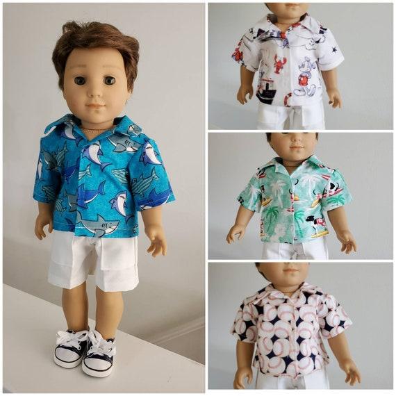 Shark, Mickey, Skateboard Dog or Baseball Shirt and/or Shorts for Logan. 18 Inch Doll American Handmade