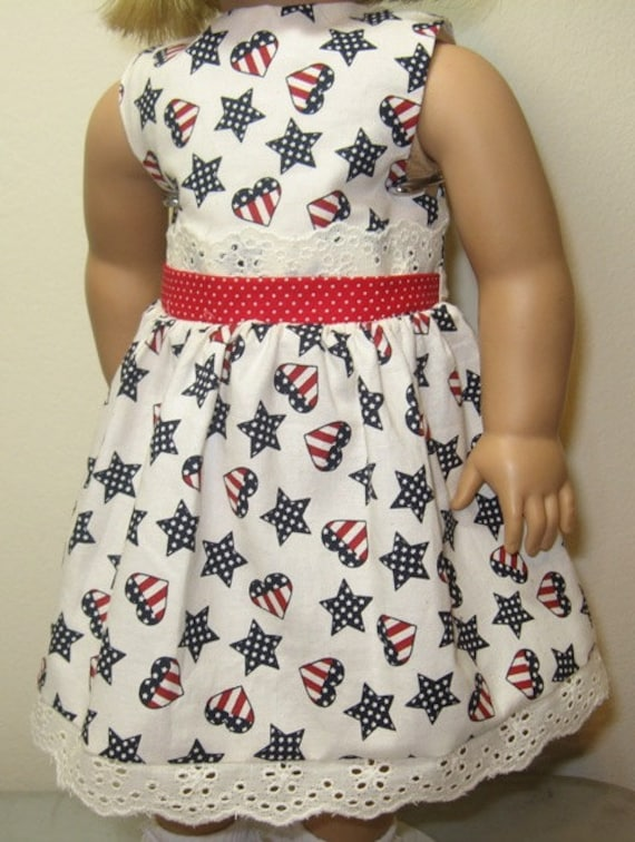 Red, White and Blue..Dress and headband for American Made 18 Inch Doll Clothes