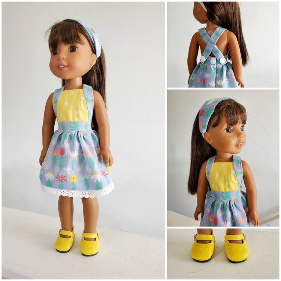 Flower Sundress and Headband for 14.5 Inch Doll Wellie Wisher