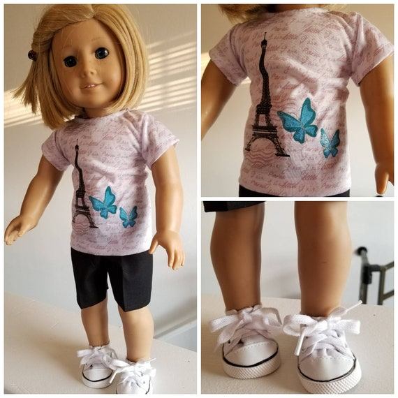 Paris T Shirt and Black Shorts for American Girl
