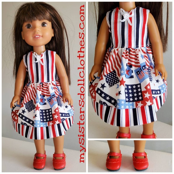 4th of July Dress  for 14.5 Inch Doll Wellie Wisher
