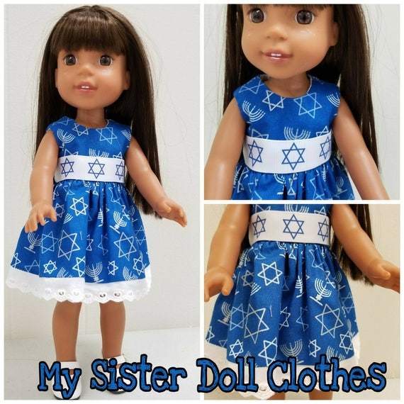Happy Hanukkah Dress for 14 and 18 inch Dolls
