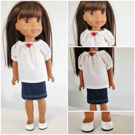 Denim Skirt and Top for Wellie Wisher Doll and Disney Toddler Doll.