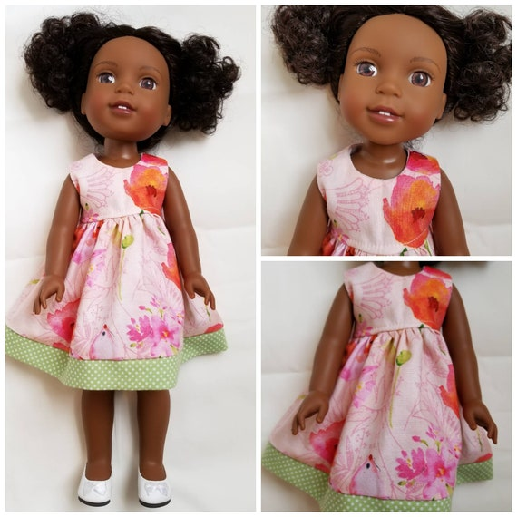 Watercolor Flower Dress  for 14.5 Inch Doll Wellie Wisher