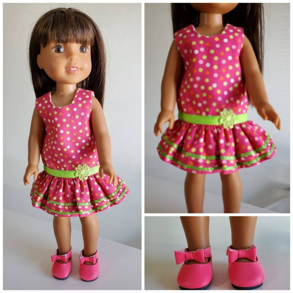 Polka Dots and Ribbons Dress and Shoes for Wellie Wisher 14 Inch