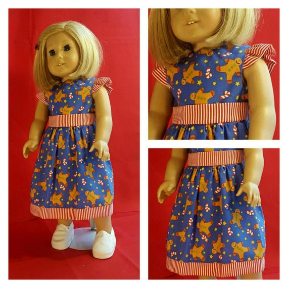 Gingerbread Christmas American Handmade Dress for your 14 or 18 Inch Doll.