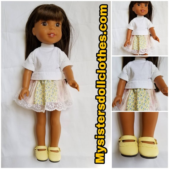 White Lace Tshirt, Yellow Patchwork Skirt & Shoes  for the 14.5 Inch Doll Wellie