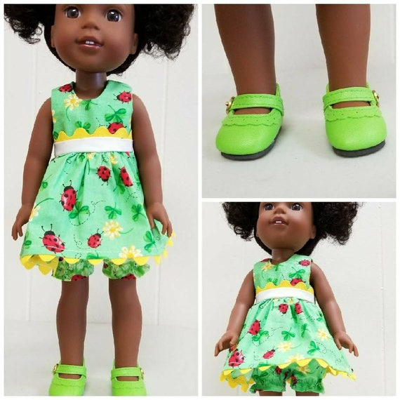 3 Piece, Wellie Wisher Clothes Green Lady Bug Dress, Bloomers and Shoes.