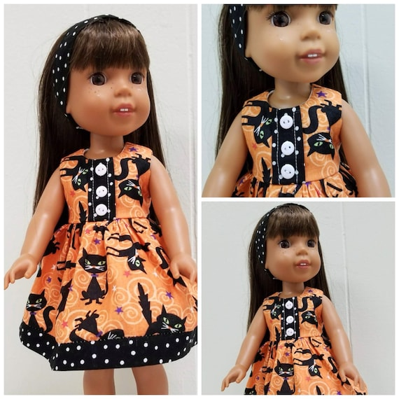 Halloween Kitty Dress and Headband for Wellie Wisher or American Girl Doll