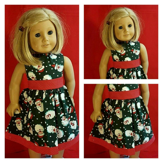 Santa Christmas Dress American Handmade for your 18 and 14 Inch Doll