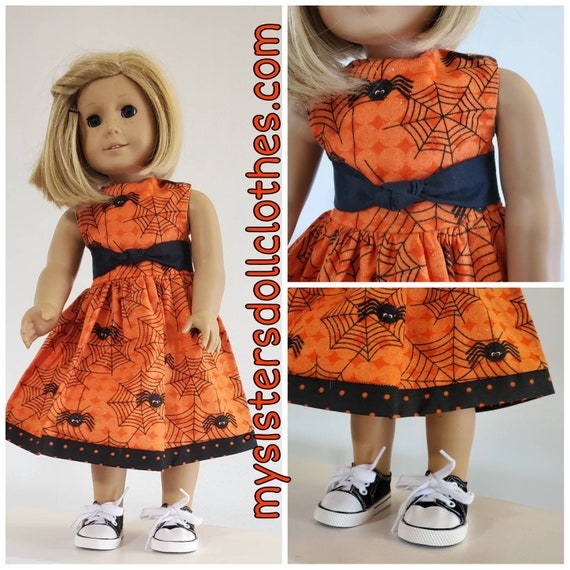 Halloween Spider Dress  and Black Shoes! Halloween Dress for American girl doll