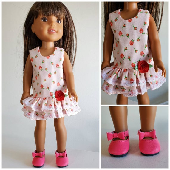 Pink Flowers Dress and Shoes for Wellie Wisher 14 Inch