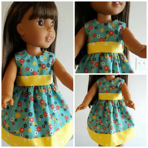 Wellie Wishers Doll Dress Yellow Polka Dot and Flowers