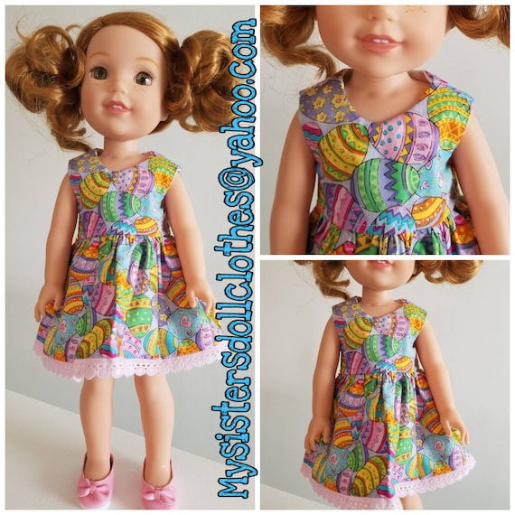 11.00 Colored Eggs for Easter   Dress for 14.5 Doll Dress Wellie Wisher